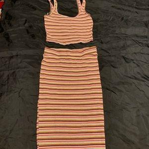 Midi Skirt Striped 2 piece set
